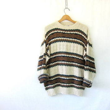 vintage off white white sweater. chunky preppy sweater. Cotton knit sweater. oversized preppy sweater. size large