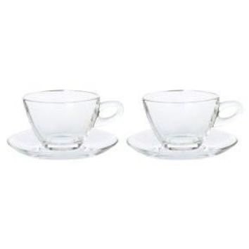 Elegant Glass Teacup and Saucer Set - 8 Oz