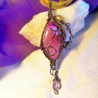 Wire Wrapped Pink Dragons Vein Vintage Bronze Drop Bead Whimsy Pendant Necklace