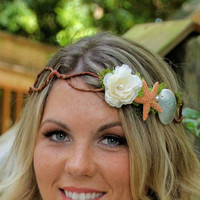 Custom Beach Bridal Mermaid Crown - Flower Beach Wedding CUSTOMIZE-ABLE headband