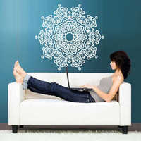 Wall Decal Vinyl  Mural Sticker Art Decor Bedroom Dorm Kitchen Mandala Menhdi Flower Pattern Ornament Om Indian Hindu Buddha (z2822)