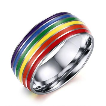 Rainbow LGBT Rings Jewelry Engagement Party Bagues Titanium 316L Stainless Steel Bands For Couple Lovers Women Men Silver Filled