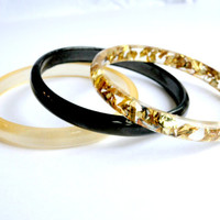 Set of Three Thin Stacking Bangles Resin Bangles Gold Flakes  Black and Gold Coloured Bangle Bracelet Set