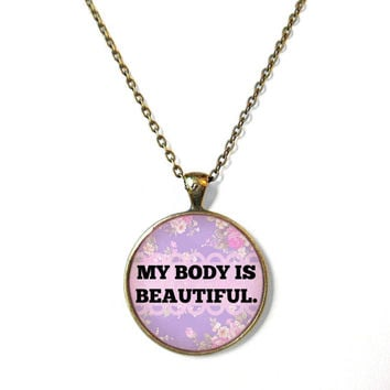 Purple Floral Feminist My Body is Beautiful Necklace - Body Positive Riots Not Diets Jewelry - Funny Pastel Goth 90s Soft Grunge Jewelry