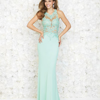 Mint Floral Applique Open Back Gown