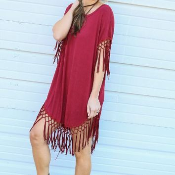 Red Loose Short Sleeve Fringed Dress
