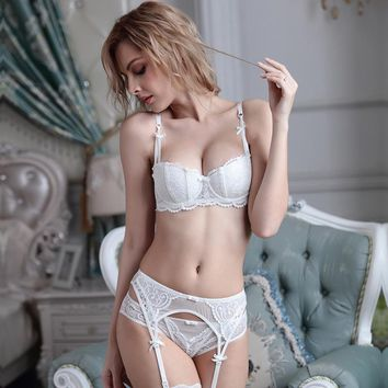 Plus size women sexy bra set intimates embroidery half cup lingerie thin temptation black white bra and panty with Garters Sets