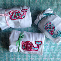Long sleeve/short sleeve Lilly Pulitzer/ Vineyard Vines appliqué monogram /sorority whale