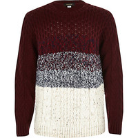 River Island Boys red stripe cable knit sweater