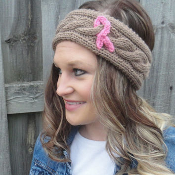 Breast Cancer Awareness Cable Knitted Headband