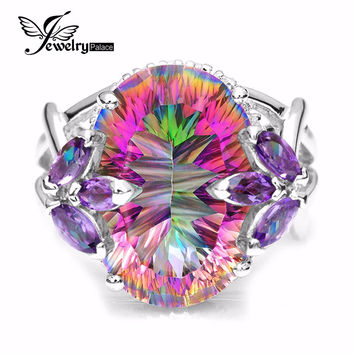 Hot Sale 12ct Genuine Amethyst Rainbow Fire Mystic Topaz Solid 925 Sterling Silver Women Ring Fashion Jewelry Promotion