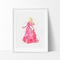 Princess Aurora, Sleeping Beauty Watercolor Art Print