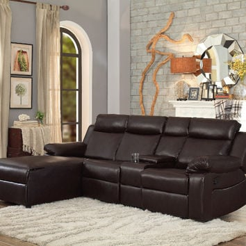 Furniture of america HE-9917DB 2 pc Dalal dark brown bi-cast vinyl sectional sofa with chaise and recliner