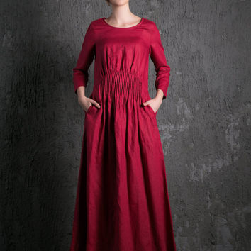 Red Linen Maxi Dress - Raspberry Fit & Flare with Pintuck Pleated Waist Summer Fall Fashion Womens Dress (C500)