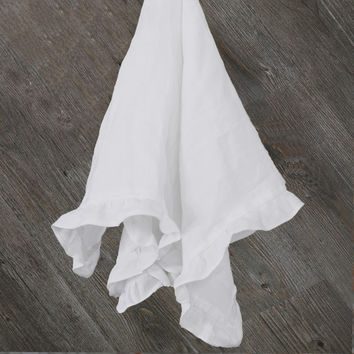 Pure Washed Linen Ruffles Table Napkins