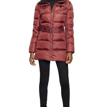 Women's Lauren Ralph Lauren Belted Quilted Jacket with Faux Shearling Trim,