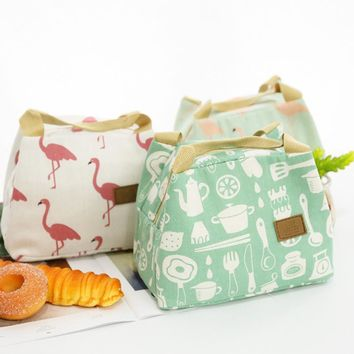 Osmond Thermal Food Picnic Lunch Boxes Portable Insulated Canvas Lunch Bag Flamingo Print Lunch Bags Tote for Women Cooler Bag