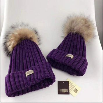 PEAPJ1A UGG Autumn and winter leisure wild knit hair ball wool cap parent-child cap Purple