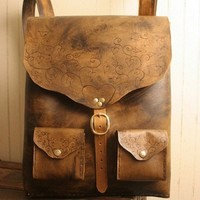 Grace Backpack - Leather in Antique Brown and Brass | moxieandoliver - Bags & Purses on ArtFire