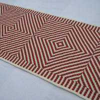 Red and White Quilted Table Runner, Hand Quilted
