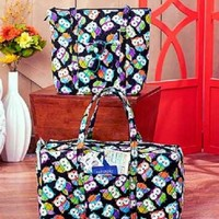 2 Pc Owl Design Quilted Tote & Duffel Bag Set Pockets Handles Travel Luggage