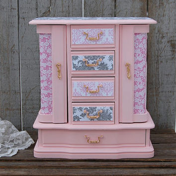 Jewelry Box, Jewelry Armoire, Shabby Chic, Pink, Grey, Damask, French, Large Jewelry Box, Decoupage