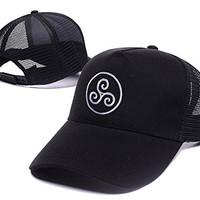 YWBI Merlin-inspired Druid Triskele Symbol Logo Adjustable Embroidery Leisure Mesh Hat Unisex Casual Baseball Mesh Cap