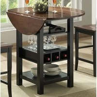Black/Mahogany MDF/Veneer 40-inch Ridgewood Drop Leaf Wine Rack Pub Table | Overstock.com Shopping - The Best Deals on Bar Tables