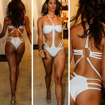 White Metal Ring Strappy Monokini