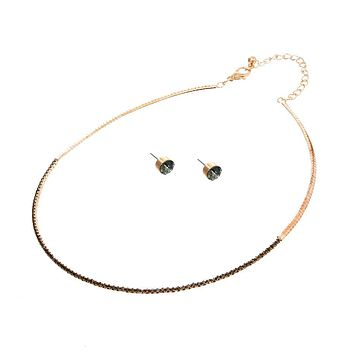 Stoned Simple Necklace Set