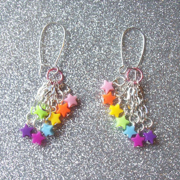 Rainbow Candy )) - Rainbow Brite Inspired Shooting Star Earrings