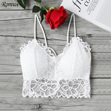 Lace Camisole Sexy Crop Top White Women Vintage Summer Tops New Elegant Sheer Backless Camisole