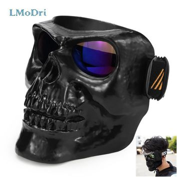 Skull Skulls Halloween Fall LMoDri Motorcycle Goggles Helmet Mask Outdoor Riding Motocross s Windproof Wind Glasses Sandproof Goggle Kinight Equipment Calavera