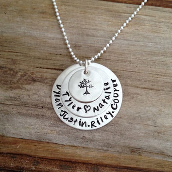 Personalized Sterling Silver Engraved Stacked Kids Name Charms Necklace, Custom Grammy Grandma Mommy Mother Gift, Hand Stamped Family Tree