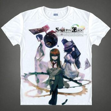 Anime T-Shirt cosplay 2015 Steins Gate Kurisu Shiina T Shirt Cosplay Costumes Men's Japanese Famous Anime T-shirt Unique Gift Camisetas Masculina AT_57_4
