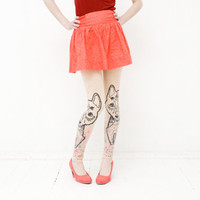 beige Red Riding Hood leggings with tribal wolf print