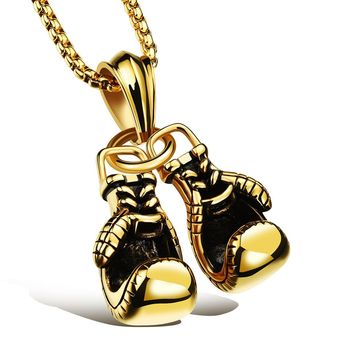 Men's Stainless Steel Boxing Glove Pendant and Necklace