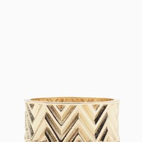 Zig Zag Imprinted Hinge Bangle