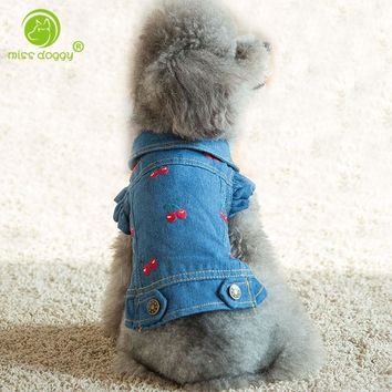 Trendy New Jean Puppy Denim Personalized Pet Cat Jeans Shirt Coat Dog Jacket Clothing Dog Clothes for Teddy Poodle Chihuahua Puppy Dogs AT_94_13