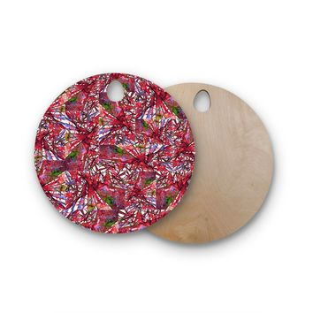 """Ebi Emporium """"New Directions, Very Cherry"""" Red Lavender Pattern Geometric Mixed Media Painting Round Wooden Cutting Board"""