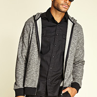 Marled Knit Zippered Hoodie Black/Grey