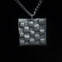 Silver Square Necklace - clay, pendant, checkered, tiled, shiny, shinning, gloss finished, glossy, grey, gray, ooak, unique, original