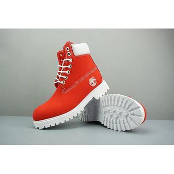 Timberland Leather Lace-Up Boot High Red White