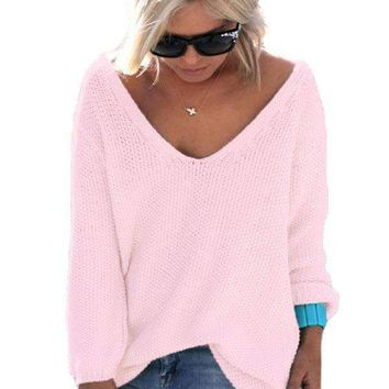 Pink Knitted Long Sleeve Plunge Jumper