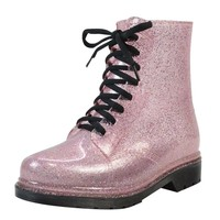 Rain Boots Bling Glitter Platform Women Boots Lace-Up Winter Ankle Boots Casual Shoes