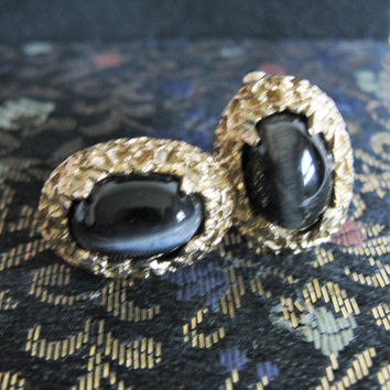 Brutalist RARE Black Tigers Eye Cuff Links Vintage 70s Anson Mens Gold Tone Jewelry Accessories