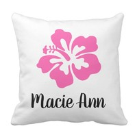 Personalized Pink Hawaiian Hibiscus Flower Throw Pillow