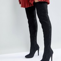 Call It Spring Black Over the Knee Boots at asos.com