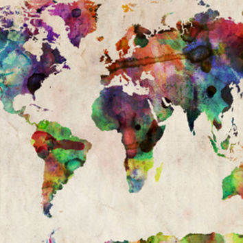 World Map Urban Watercolour Stretched Canvas Print by Michael Tompsett at Art.com