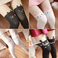 Cartoon Printing False High Stockings Cute Jfashion Girls Teens Stockings Spring Summer Pantyhose Harajuku Totoro Anime Leggings
